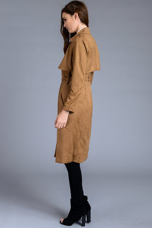 Faux Suede Open Front Midi Trench Coat