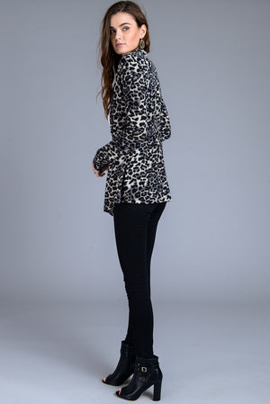 Open Front Leopard Print Slim Fit Cardigan