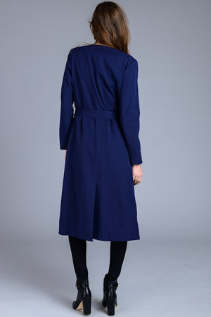 Open Lapel Midi Trench Coat