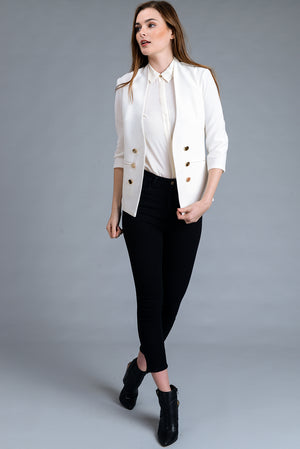 Plus Size Open Front 3/4 Sleeve Blazer Jacket