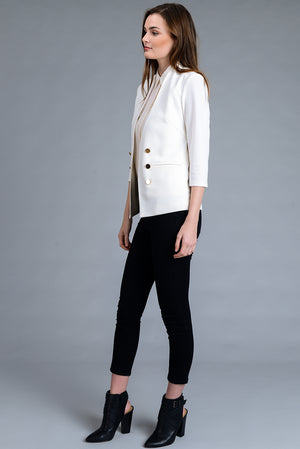 Open Front 3/4 Sleeve Stretch Blazer