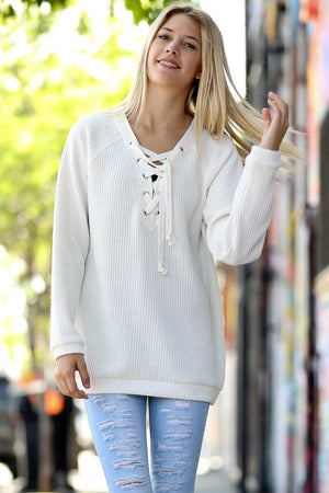 Ribbed Front Lace up Long Sleeve Sweater