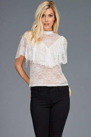 Victorian Mock Neck Lace Blouse