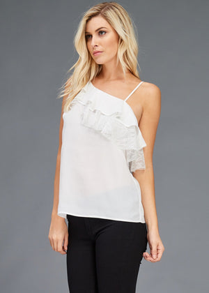 One Shoulder Lace Ruffle Woven Blouse