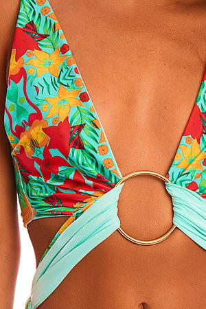 The Aphrodite - Reversible Tropical Aqua Print