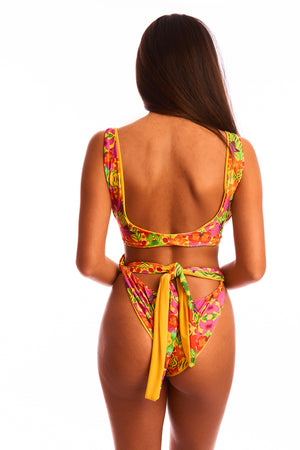 The Aphrodite - Reversible Tropical Yellow Print