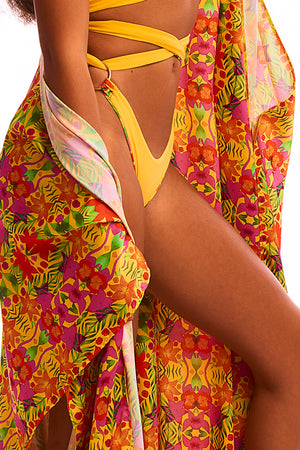The Hemera Cover up - Tropical Yellow Print