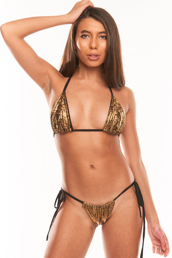 The Omari String Two Piece - Gold Hologram