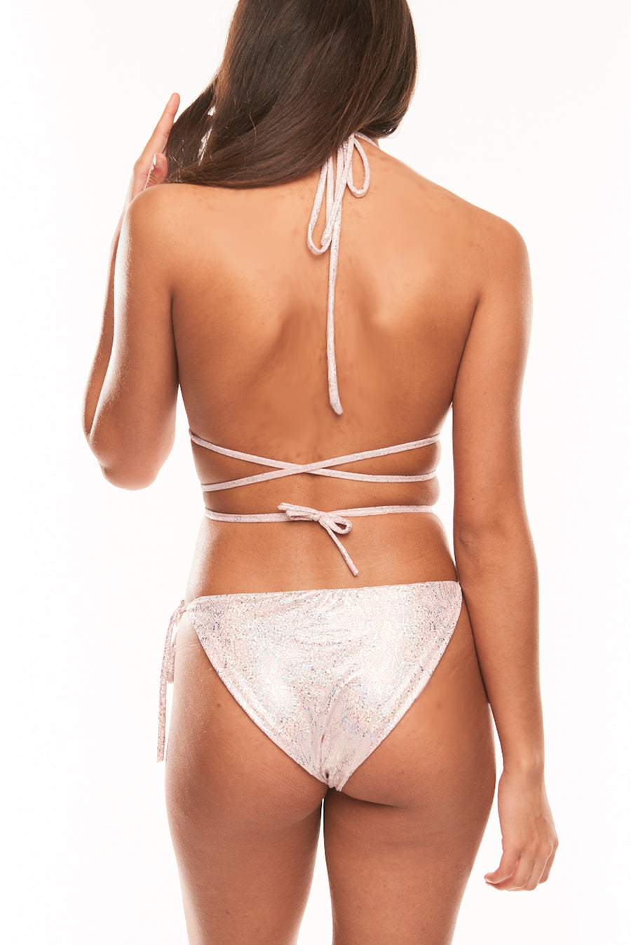 The Omari String Two Piece - Light Pink Hologram