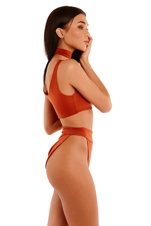 The Meilani Swim With Choker - Burnt Orange