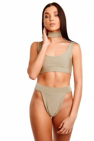 The Meilani Swim With Choker - Olive Green