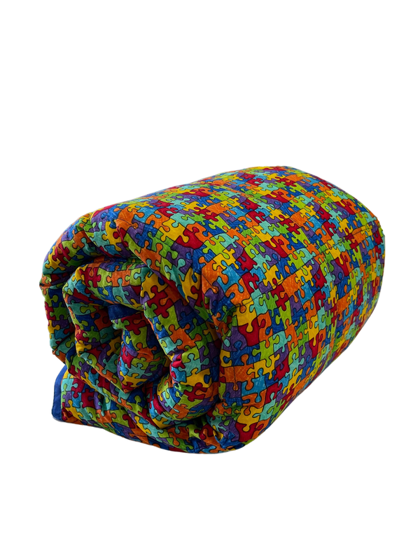 Puzzle Pieces Weighted Blanket Rolled Side View