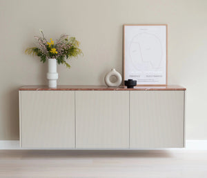 Besta 180x64cm Slatted Beige cabinet (with pink marble top)