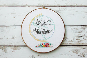 Floral Vintage Adventure Globe Embroidery Pattern