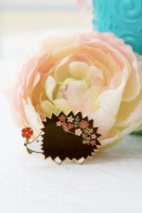 Floral Hedgehog ENAMEL PIN