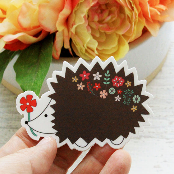 Floral Hedgehog Vinyl Sticker
