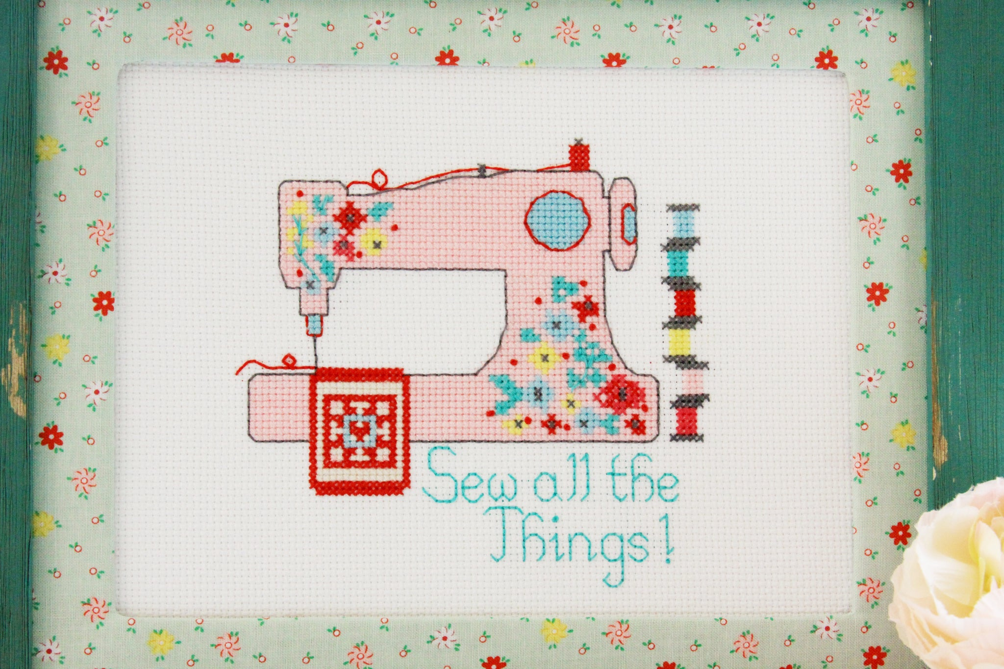 Flamingo Toes and DMC Pink Floral Embroidery Hoop Sew All The Things Cross Stitch Pattern