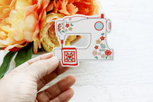 Floral Sewing Machine Vinyl Sticker