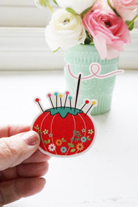 Vintage Tomato Pin Cushion Vinyl Sticker