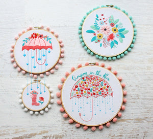 Floral Umbrella Embroidery Double Hoop Set Embroidery Pattern