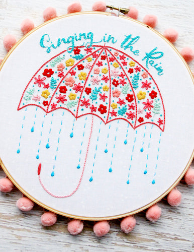 Singing in the Rain Umbrella Embroidery Pattern