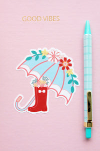 Floral Umbrella and Boots Sticker