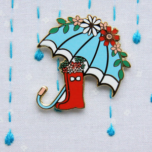 Floral Umbrella and Boots Needle Minder