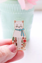 White Floral Cat Enamel Pin