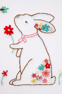 Rosie the Floral Rabbit Embroidery Pattern
