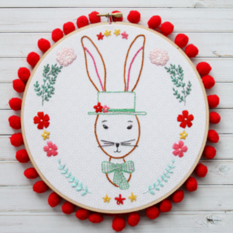Rabbit Portrait PDF Embroidery Pattern