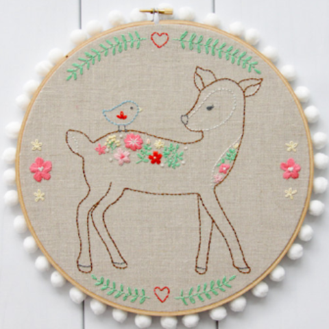 Daisy the Floral Deer Embroidery Pattern