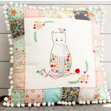 Stitching Friends Embroidered Patchwork Pillow Pattern