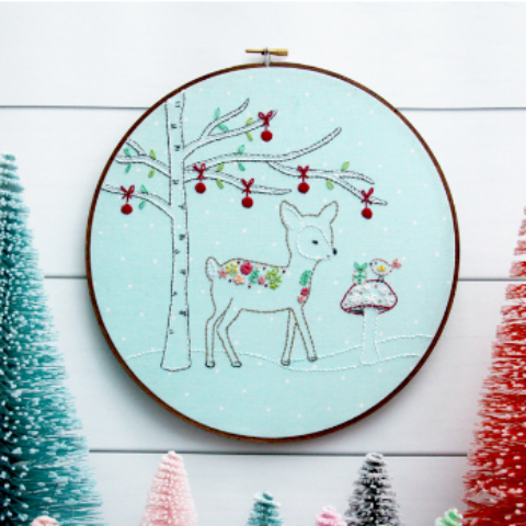 Woodland Winter Christmas Deer Embroidery Pattern Flamingo Toes