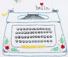 Hello Love - Retro Floral Typewriter Embroidery Pattern