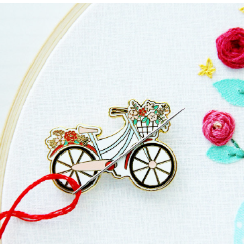 Floral Vintage Bicycle - Magnetic Embroidery Needle Minder