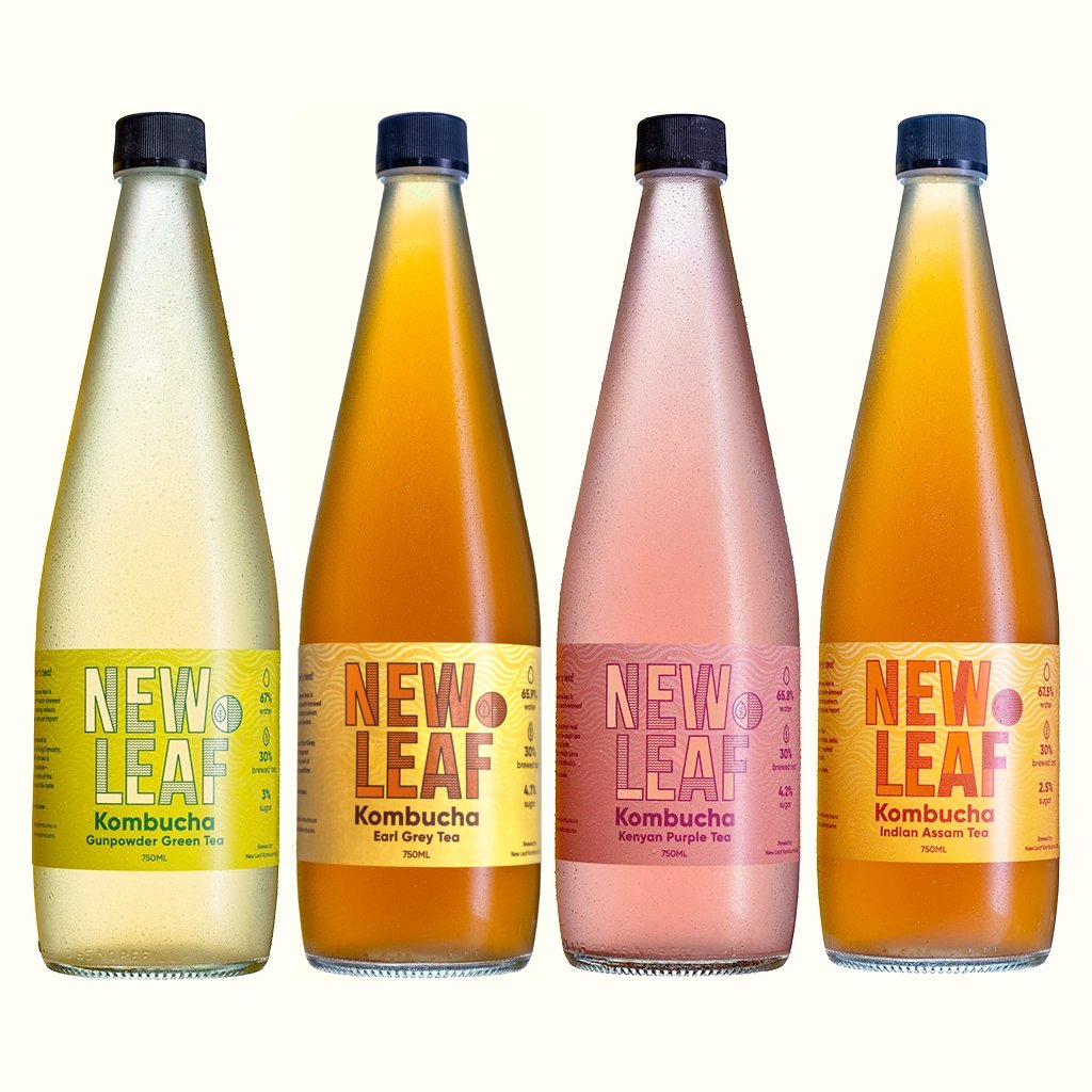 4 Bottles of New Leaf Kombucha - Gunpowder Green Tea, Earl Grey Tea, Kenyan Purple Tea and Indian Assam Tea