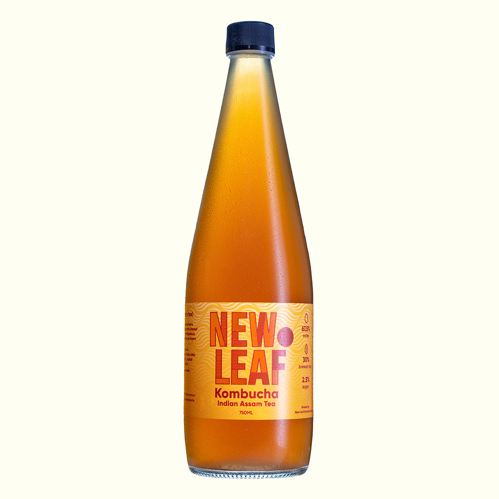 A 750ml bottle of Indian Assam Tea Kombucha