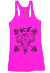 Cow Skull and Barbells Neon Pink Stringer Tank