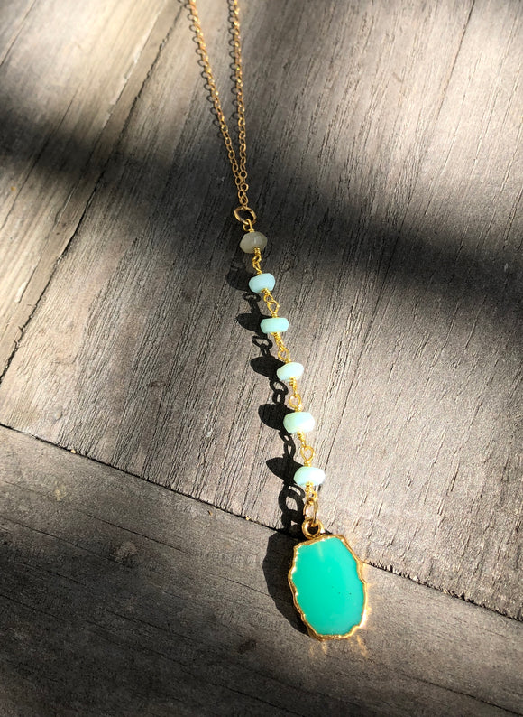 Y necklace 16 inches around the neck with chrysoprase beads and pendant 5 inches long