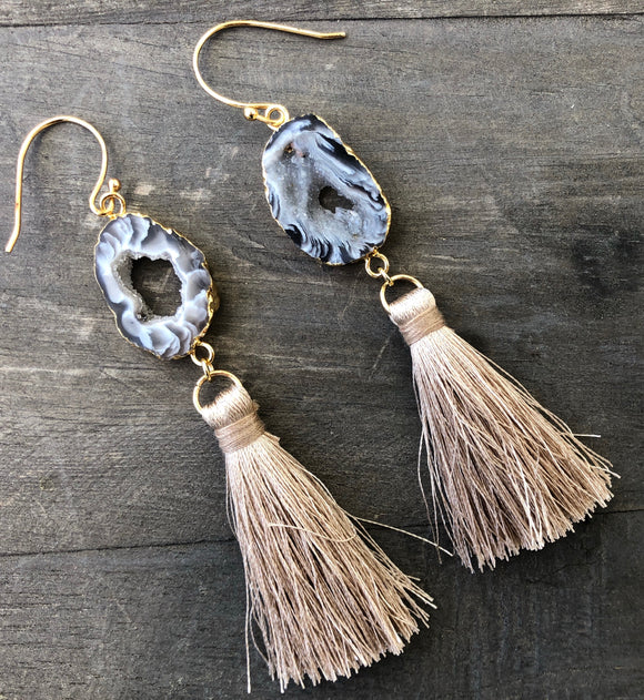 Black geode tassel earrings 2 1/2 inches in length