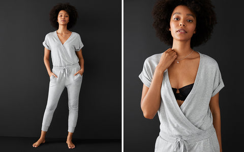 Women Lounging in a Z Supply Wrap-Front Jumpsuit