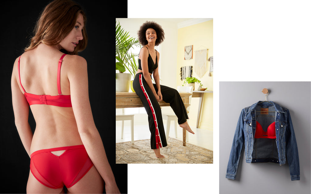 TellTale red bra and undies and track pants