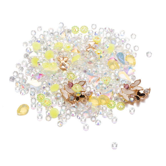Mixed Crystal - Crystal AB, Yellow Crystal and Butterfly Nail Art Décor