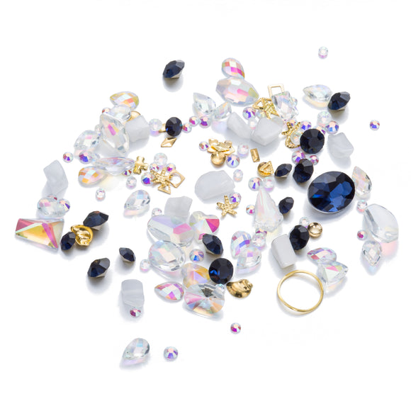 Mixed Crystal - Crystal AB, Sapphire Royal Blue Crystal, and Clear White Quartz Crystal