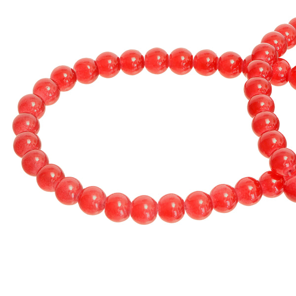 Red Round Glass Beads Size 4 mm / 6 mm / 8 mm / 10 mm