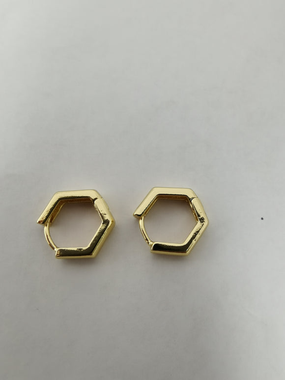 1 pair 24K Gold-Filled Hexgon Huggie Hoop Earrings