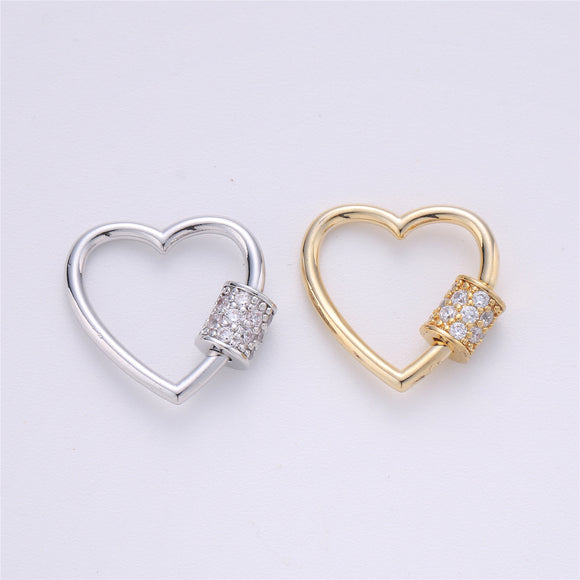 Screw Lock Heart #2 Gold / White Gold