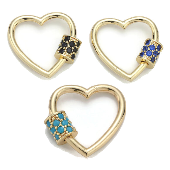 Screw Lock Heart #7 Black / Blue / Teal
