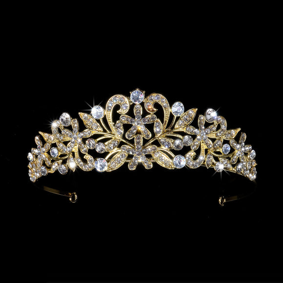 Gold Tiara Crown Headband Elegant Victorian Blooming Flowers Petals with Clear Crystal Tiara # 32