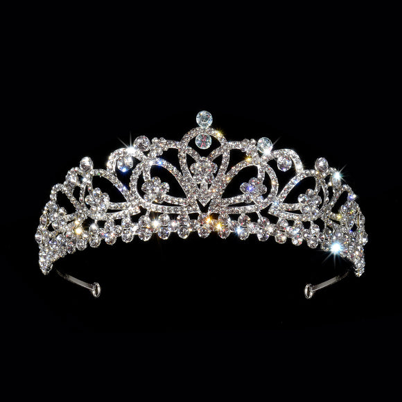 Silver White Gold Tiara Crown Headband Elegant with Clear Crystal Flower Tiara # 8